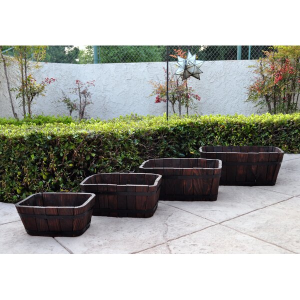 4-Piece Cedar Barrel Planter Set by Shine Company Inc.