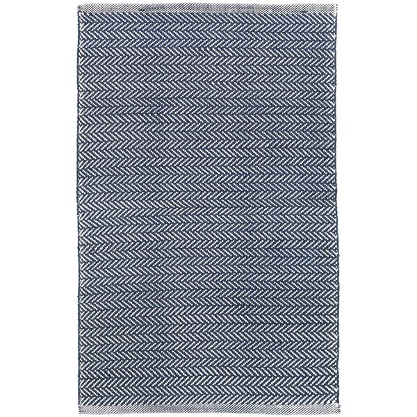 Herringbone Handwoven Flatweave Indigo/White Indoor/Outdoor Area Rug By Dash And Albert Rugs