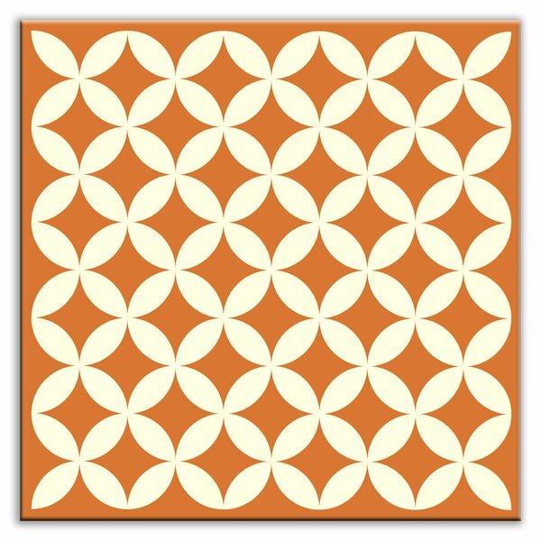 Folksy Love 4-1/4 x 4-1/4 Glossy Decorative Tile in Needle Point Orange by Oscar & Izzy
