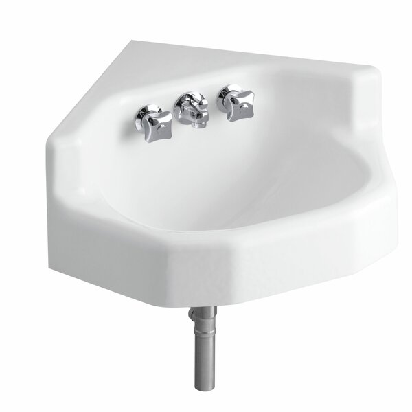 Marston Metal 23 Corner Bathroom Sink with Faucet and Overflow