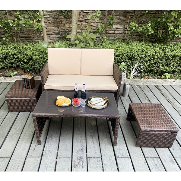 Rand 4 Pieces Sofa Seating Group with Cushions by Latitude Run
