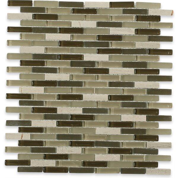 Cleveland 0.5 x 1.5 Glass/Marble Mosaic Tile in 2 Color Blend by Splashback Tile