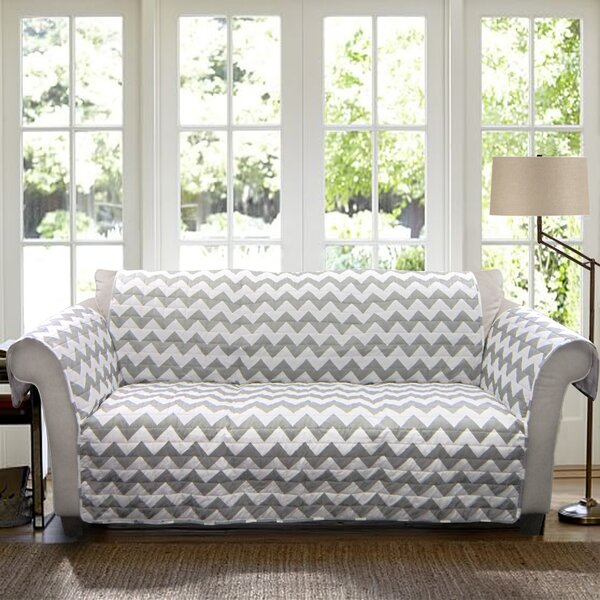 Primey Chevron Box Cushion Sofa Slipcover by Latitude Run