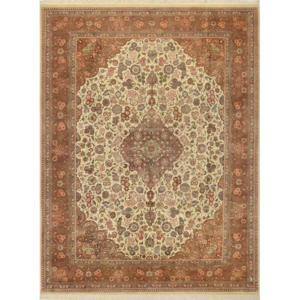 One-of-a-Kind Aaru Kashan Hand-Knotted Wool Ivory/Brown Area Rug by Isabelline