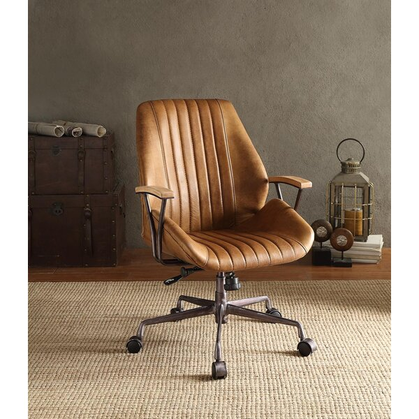 Kirbyville Mid-Back Leather Executive Chair by Greyleigh
