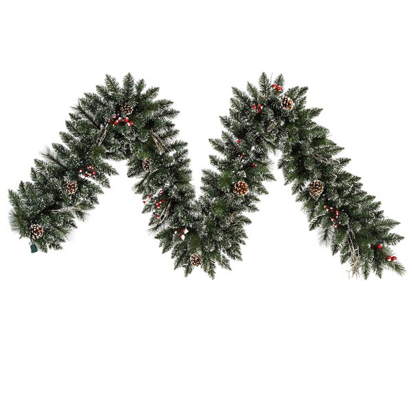 Snow Tipped Pine and Berry Christmas Garland Unlit by The Holiday Aisle