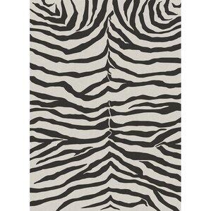 Zebra Safari Black Indoor/Outdoor Area Rug