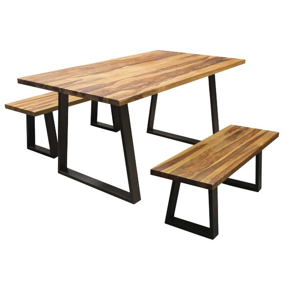 Rodgers 3 Piece Solid Wood Dining Set by Williston Forge