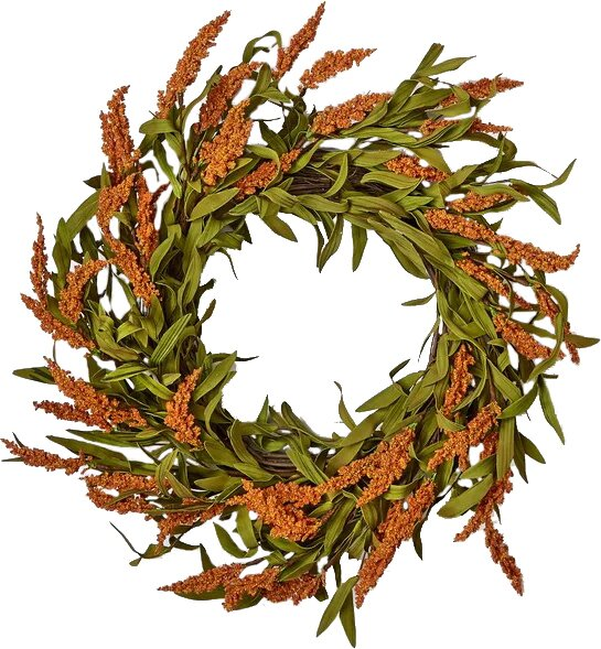 Fall Spike on Natural Twig Base 22 Wreath by Charlton Home