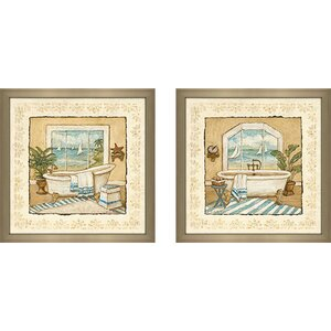 'Ocean View' 2 Piece Framed Acrylic Painting Print Set Under Glass by Beachcrest Home