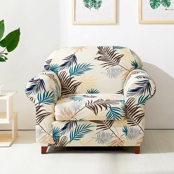 Leaves Printed Stretch Chair Slipcover by subrtex