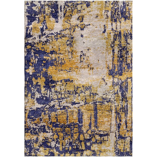 Ashford Handloom Gold/Blue Area Rug by Ivy Bronx