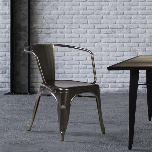 Geraldto Metal Slat Back Arm Chair In Gunmetal By Stilnovo