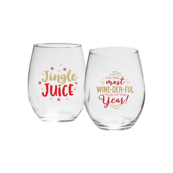 Cuellar Jingle Juice & Most Wonderful Year Glass 15 oz. Stemless Wine Glass (Set of 2) by The Holiday Aisle