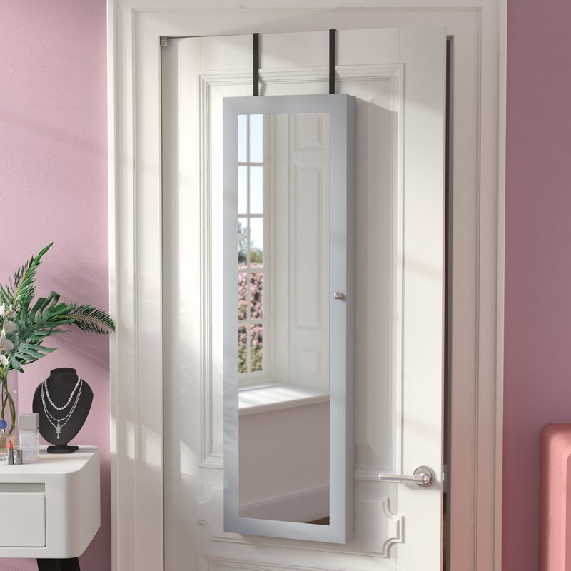 Aidan Over The Door Jewelry Armoire With Mirror