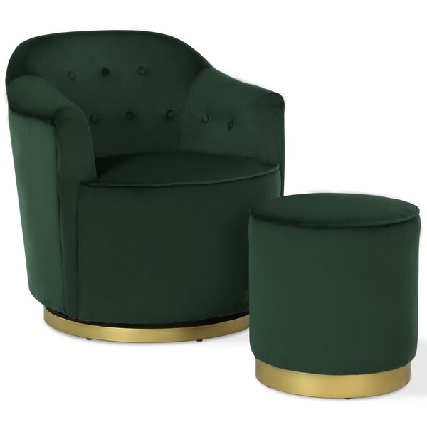 Azalea Swivel Armchair and Ottoman by Novogratz