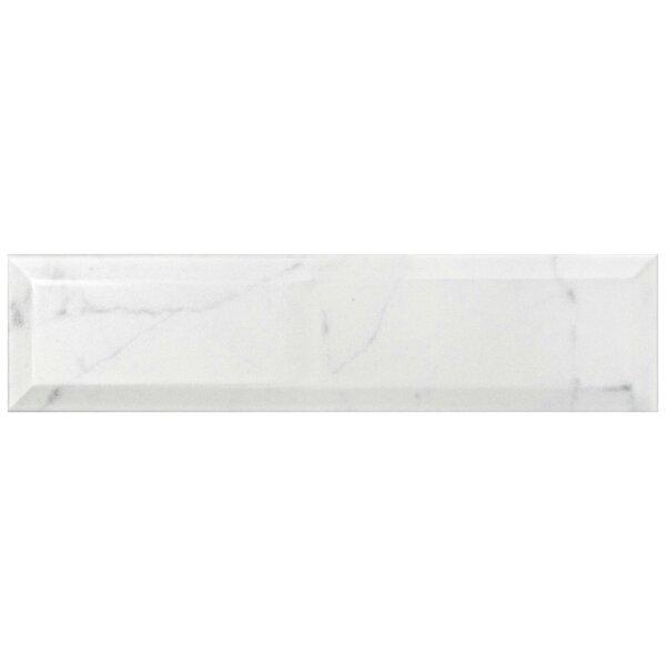 Karra Carrara 3 x 12 Ceramic Subway Tile in Glossy Metro White/Gray by EliteTile