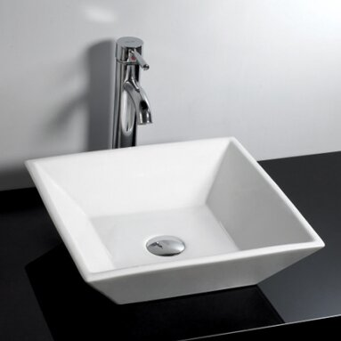 Ceramic Square Vessel Bathroom Sink by Novatto