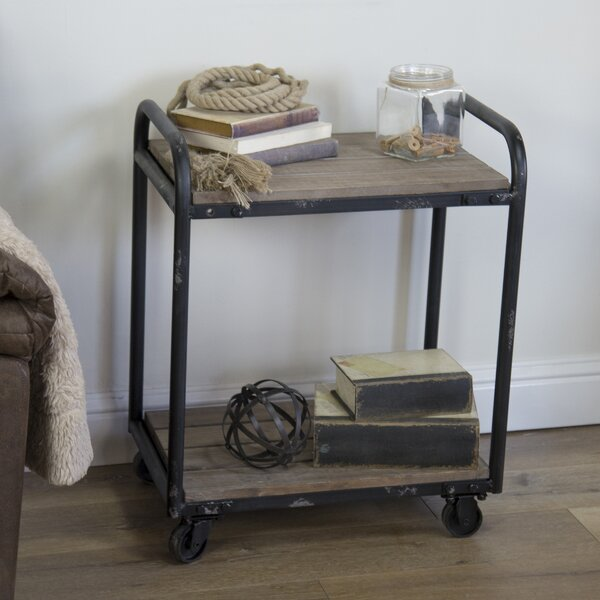 Rogers Wood and Metal Industrial Bar Cart by 17 Stories