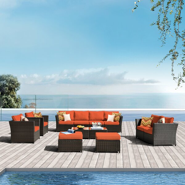 Cassville 12 Piece Sectional Seating Group with Cushions by Rosecliff Heights