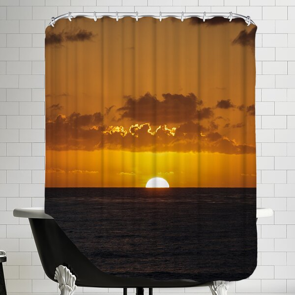 Sunset Holiday Ocean Shower Curtain by East Urban Home