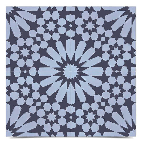 Agdal 8 x 8  Cement Field Tile in Gray/Black by Moroccan Mosaic