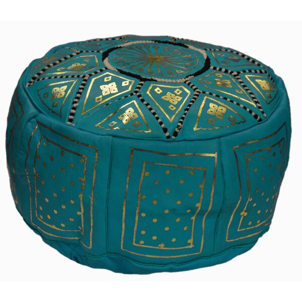 Review Plust 18'' Genuine Leather Round Pouf Ottoman