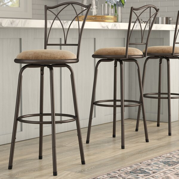 Frankfort Adjustable Swivel Bar Stool (Set of 3) by Three Posts