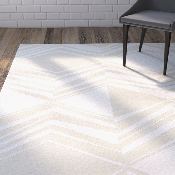 Helmick Hand-Tufted Cream/Taupe Area Rug by Wrought Studio
