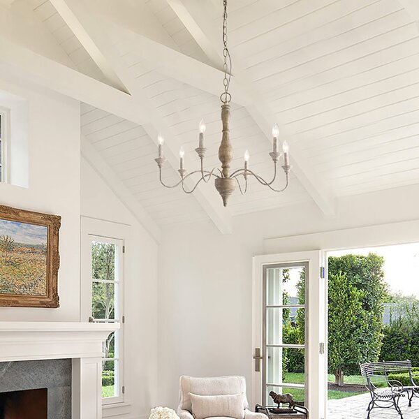 Torin 6 - Light Candle Style Classic / Traditional Chandelier with Wrought Iron Accents by Ophelia & Co. Ophelia & Co.