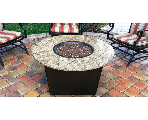 The Santiago Granite Gas Fire Pit Table with Universal Cooking Package by Firetainment