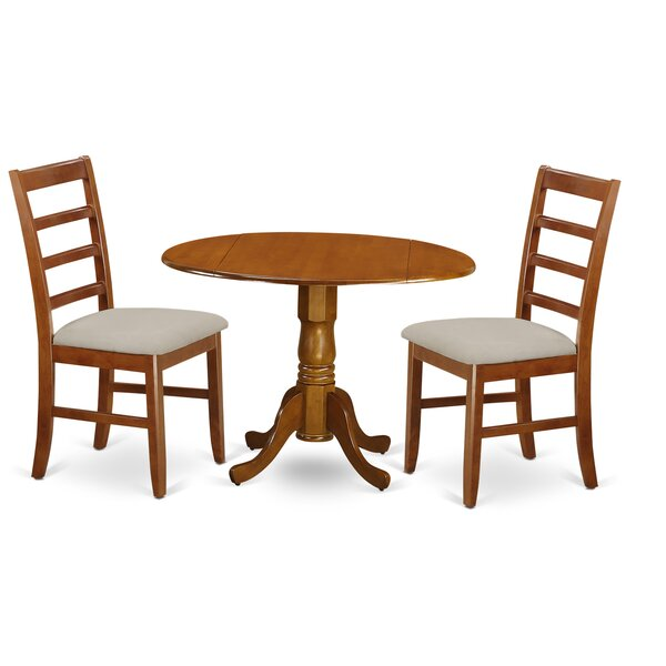 Spruill 3 Piece Drop Leaf Solid Wood Dining Set by August Grove August Grove