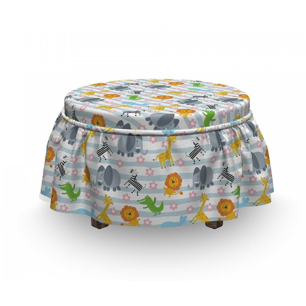 Friendly Zoo Characters Ottoman Slipcover (Set Of 2) By East Urban Home