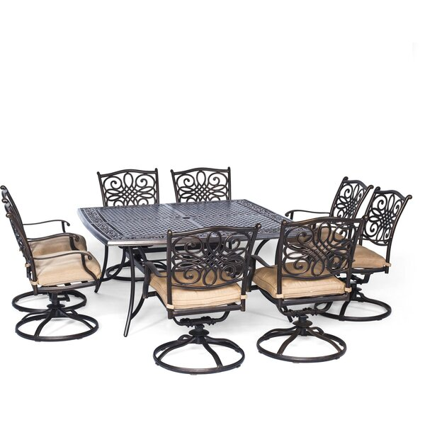Lauritsen 9 Piece Dining Set with Cushion by Three Posts
