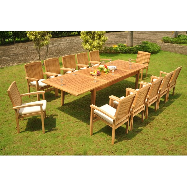 Poar 11 Piece Teak Dining Set by Rosecliff Heights