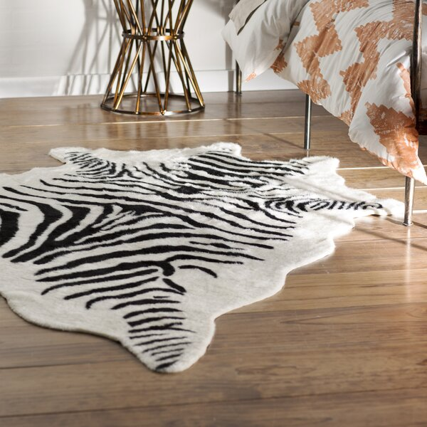 Hermosa Beach Hand-Tufted Faux Cowhide Zebra Black Area Rug by Bloomsbury Market