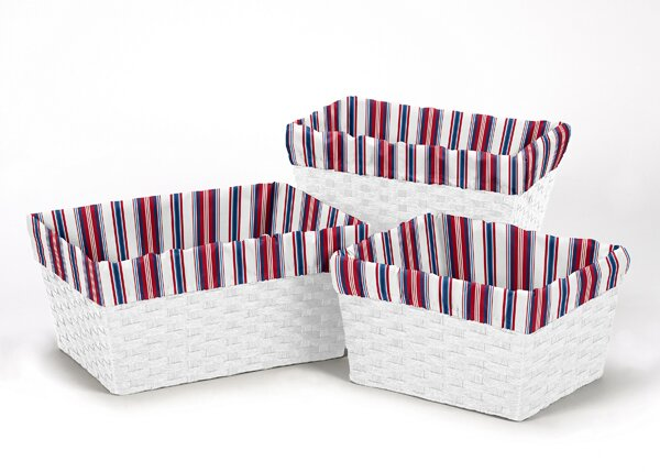 Nautical Stripe Print 3 Piece Basket Liner Set by Sweet Jojo Designs