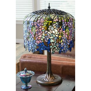 Wisteria stained glass lamp wayfair crannell tiffany inspired grand wisteria stained glass 2950 table lamp mozeypictures Image collections