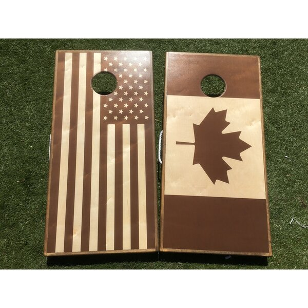 Stained American Flag Canadian Flag 10 Piece Cornhole Set by West Georgia Cornhole