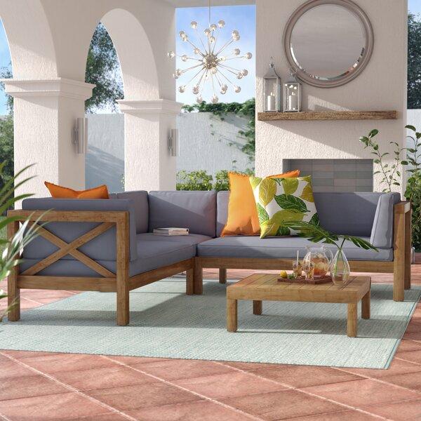 Lejeune 4 Piece Sofa Set with Cushions by Lark Man
