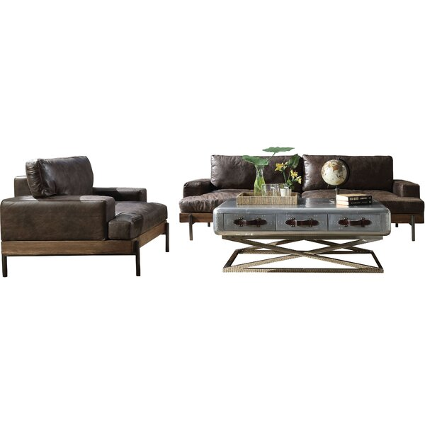 Pakswith 2 Piece Standard Leather Configurable Living Room Set By Greyleigh