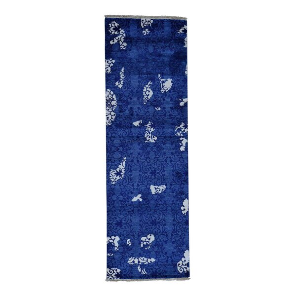 One-of-a-Kind Eddyville Art Modern Oriental Hand-Knotted Silk Blue Area Rug by World Menagerie