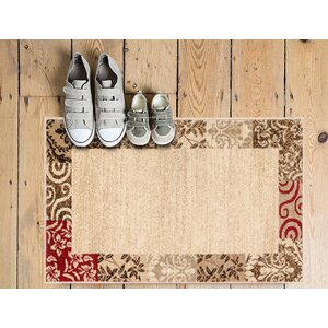 Janell Vane Willow Damask Patch Border Area Rug