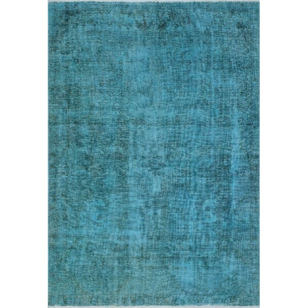 One-Of-A-Kind Treva Hand-Knotted Wool Blue Area Rug by Isabelline