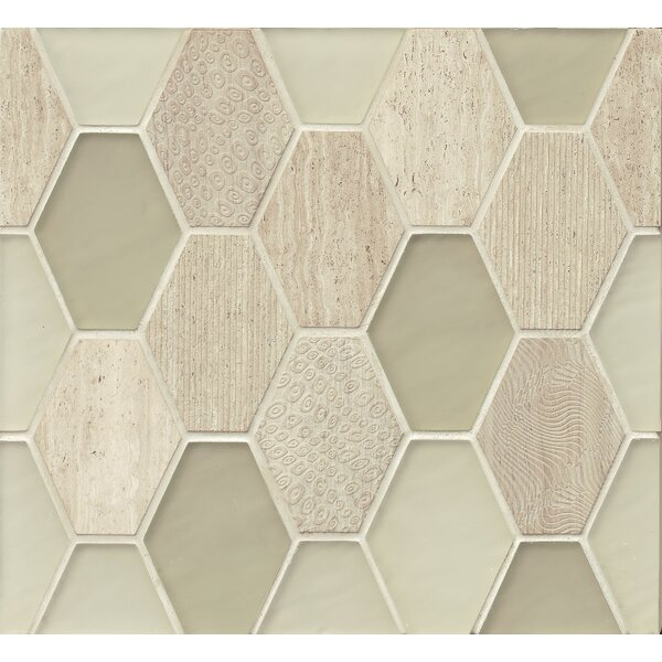 DuJour Glass and Stone Mosaic Tile in Cream by Grayson Martin