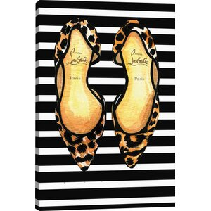 'Christian Louboutin and Stripes' by Rongrong DeVoe Graphic Art Print by East Urban Home