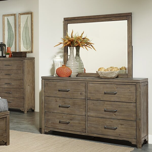 Saucedo 6 Drawer Double Dresser with Mirror by Union Rustic