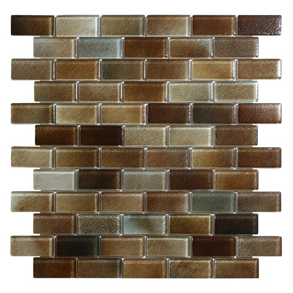 Hi-Fi Offset Brick 1 x 2 Glass Mosaic Tile in Dark Brown/Warm Beige by Kellani