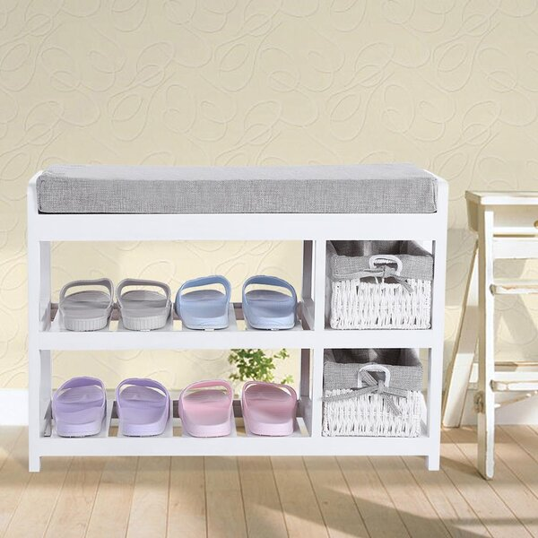 Entryway Wooden 8 Pair Shoe Storage Bench
