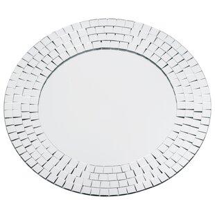 Latitude Run Goku Round Crystals Glass Mosaic Wall Mirror